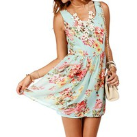 Mint/Floral Sleeveless Tank Skater Dress