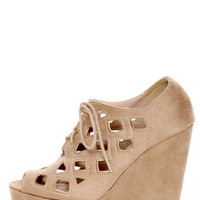 Soda Resist Oat Cutout Lace-Up Platform Wedges