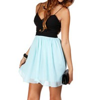 Elly- Black/Mint Short Dress