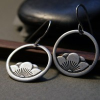 Hoop  Earrings - Antiqued SIlver Lotus Flowers Earrings