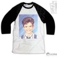 Justin Timberlake Middle School Yearbook Photo Baseball Shirt