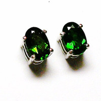 "Chrome diopside stud earrings   "" ""Emerald Street"""