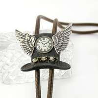 Steampunk Tophat Bolo, Men's Necktie, Father's Day, Snakeskin Cord, Mad Hatter, Clock, Wings, Hipster, Kitsch Jewelry