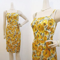 50s Dress Vintage Yellow Rose Taffeta Cocktail Wiggle Sun XS