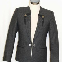 "GRAY ~ BOILED WOOL Men German Hunting Western Riding Suit JACKET Coat / 46 38"" S"