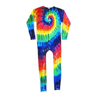 Tie Dyed Union Suit Rainbow Spiral Long Johns Swirl Rainbow Tie Dyed One-Piece Union Suit Button Front P.Js with Button Flap