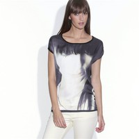 Short-Sleeved Dual Fabric Photo Print T-shirt