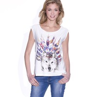 'Wolf' Print Short-Sleeved T-Shirt, 100% Cotton