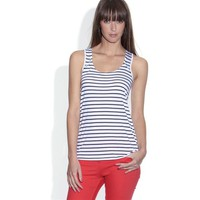 Nautical Striped Jersey Vest Top with Racer Back