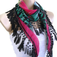 cotton scarf, Necklace scarves, Traditional Turkish-style, Headband, scarf,  Black,  Pink and Green, fashion 2013