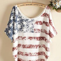 White Vintage Old Flag Printed Short-sleeve T-shirt