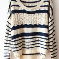 Deep Blue Striped Loose Hollow Sweater For Women