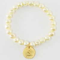 Pearl Single Initial Bracelet