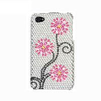 Handmade hard case for iPhone 4, 4S & 5: Bling Plum Flowers (custom order are welcome)