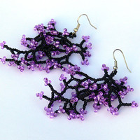 Black Purple Earrings. Dangle Long Earrings. Beadwork. Beaded  Handmade Jewelry.