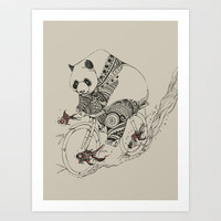 Panda and Follow Fish Art Print by Chalermphol Harnchakkham