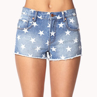 Star Print Denim Cut Offs | FOREVER 21 - 2035826849