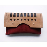 Folded Clutch with Maroon Suede and Mushroom Colored Leather, Buy Unique Gifts From CultureLabel.com