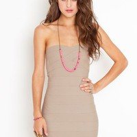 Sweetly Bound Dress - Taupe in  Collections Back In Stock at Nasty Gal