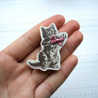 Wooden Cat Brooch with Bow