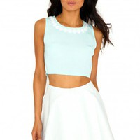 Missguided - Lindsay Flower Detail Crop Top In Mint