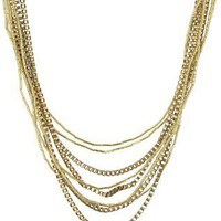 "Jessica Simpson ""Gia Gold"" Multi-Strand Necklace"