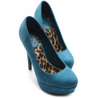 ollio Womens Stilettos Shoes Pumps FauxSuede High Heels Platform TEAL US 6.5