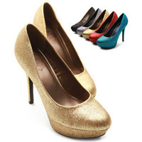 ollio Womens GOLD Shoes Glitter High Heels Stilettos Platforms US 6