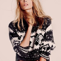Free People Cropped Fairisle Pullover