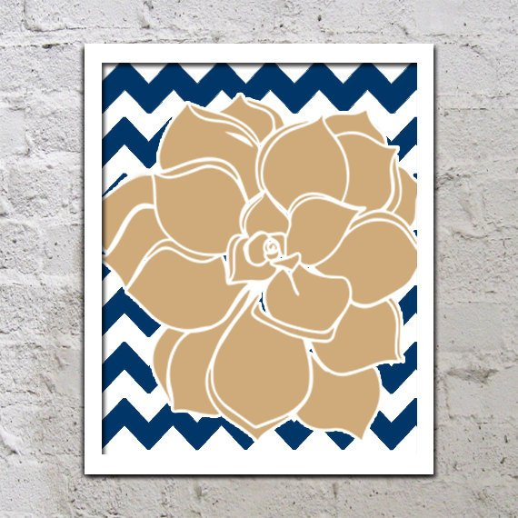 Bold Colorful Dahlia Flower Chevron Brown From TRM Design