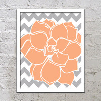 Bold Colorful Dahlia Flower Chevron Peach Grey Gay Decor Wall Art Poster Nursery Print Bedroom Bathroom