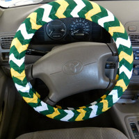 Green and Gold Chevron Steering Wheel Cover
