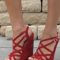 Red multi strap suede look  wedge sandals from Chockers Shoes