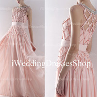 A Line O Neck with Beading Criss-Cross and Pink Chiffon Long Evening Dress, Prom Dress, Wedding Party Dress, Evening Gown, Prom Gown