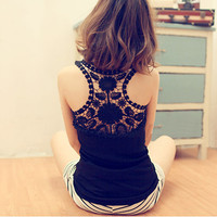 Ruffled Collar Lace Back Bottoming Vest