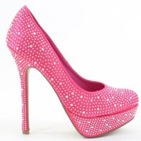 Amazon.com: Pink Satin Rhinestone Detail Sexy Platform Heels: Shoes