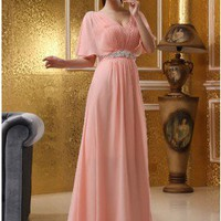 Unique Beaded Straps Chiffon Evening Dress Pink Prom Dress