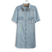 Hot Rivet Neck Long Denim Shirt