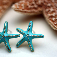 Starfish Earrings with Turquoise Enamel Finish