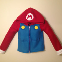 Nintendo Mario Bros. inspired fleece hoodie shirt (boys sizes)