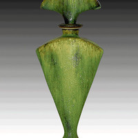 Green perfume Bottle by Daniel Slack: Ceramic Perfume Bottle - Artful Home