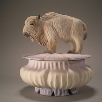 White Buffalo Box by Nancy Y Adams: Ceramic Box - Artful Home