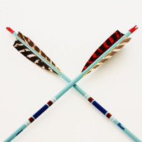 Take Aim - Vintage Arrows - Vintage Bear Arrows - Feathers - Aqua - Blue - Boho - Southwest - Vintage Home Decor - Tribal