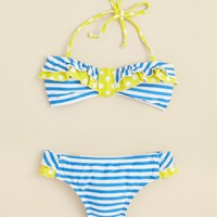 Aqua Girls' Nautical Stripe Two Piece Swimsuit - Sizes 7-14 | Bloomingdale's