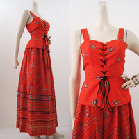 70s Sun Dress Vintage Prairie Hippie Peplum Corset Top & Maxi Skirt S M