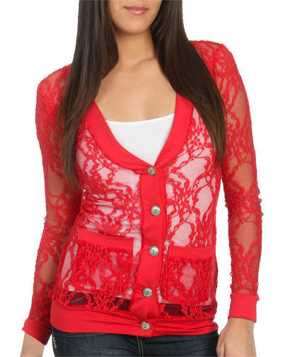 Lace Button Up Cardigan - Teen Clothing by Wet Seal