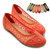 ollio Womens Floral Lace Ballet Flats Loafers Low Heel Slip-on Multi Color Shoes