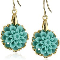 Devon Leigh Splash Of Color Small Turquoise Flower In 24k Gold Foil Earrings