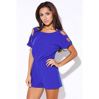 blue cut out shoulder summer party romper jumpsuit - Clubwear -AFFORDABLE SEXY PARTY DRESSES, CLUBWEAR 21
