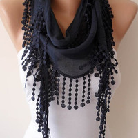 Lightweight Summer Scarf  - Dark Blue Scarf with Trim Edge